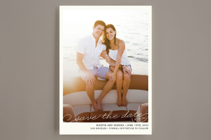 """Vintage Photograph"" - Simple, Vintage Save The Date Cards in White by annie clark."