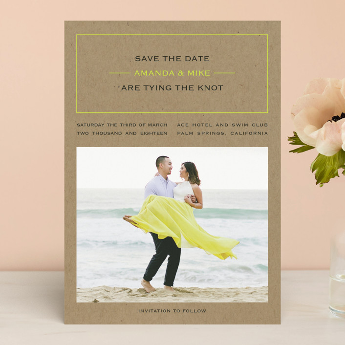 """Vintage Kraft"" - Modern Save The Date Cards in Chartreuse by Waldo Press."