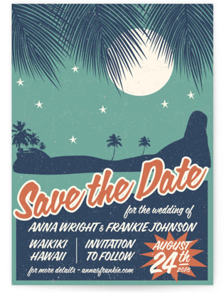Retro Hawaii Save the Date Cards