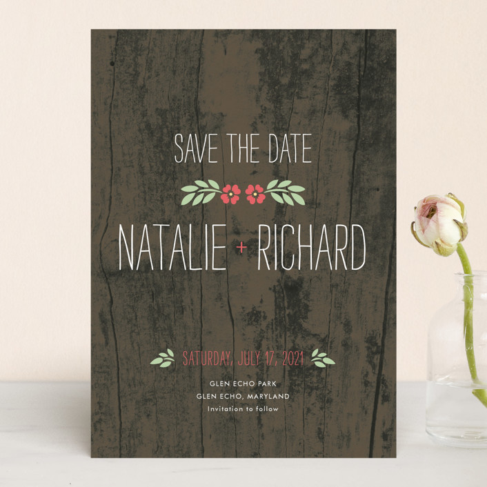 """In the Park"" - Rustic Save The Date Cards in Rose by Amanda Larsen Design."