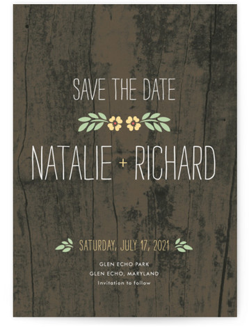 This is a portrait rustic, yellow Save the Dates by Amanda Larsen Design called In the Park with Standard printing on Signature in Classic Flat Card format.