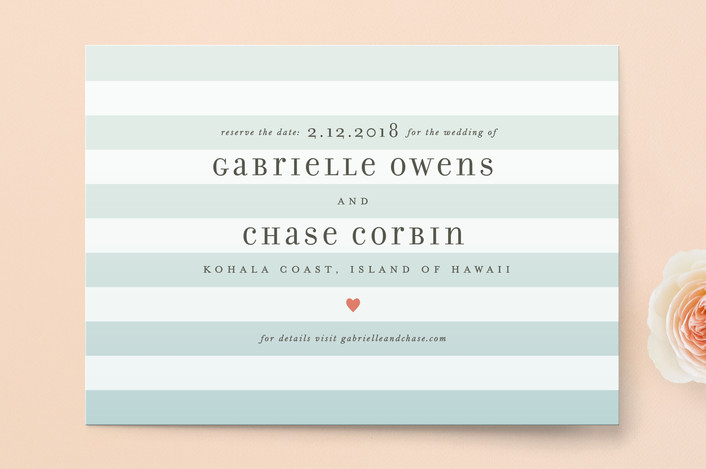 """Ombre Stripes"" - Simple, Beach Save The Date Cards in Ocean by Jill Means."