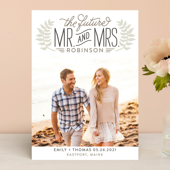 """""""Mr. & Mrs."""" - Rustic Save The Date Cards in Wheat by Jessie Steury."""
