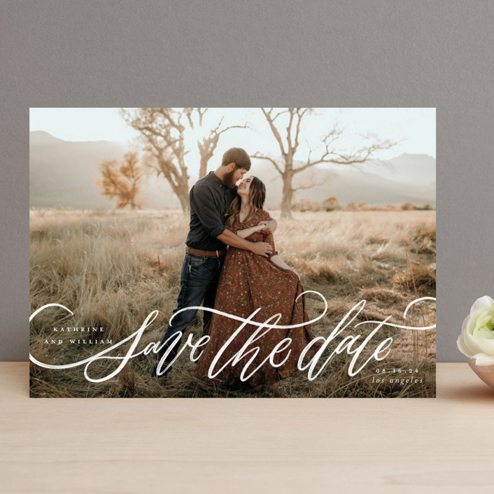 """""""Flourished Love"""" - Save The Date Cards in Cloud by Wildfield Paper Co."""