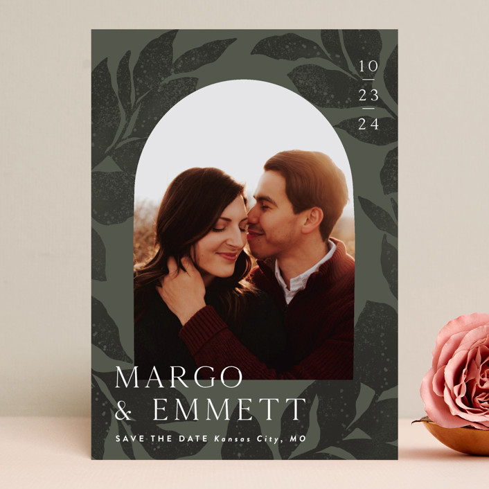 """""""Shade Garden"""" - Modern Save The Date Cards in Moss by Laura Hankins."""