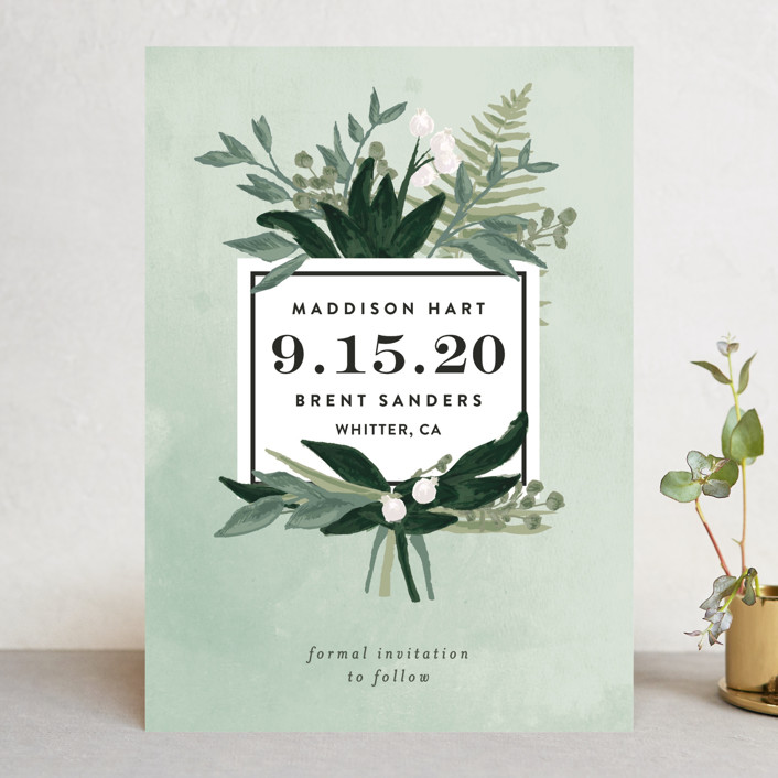 """Botanical Name Plate"" - Save The Date Cards in Sage by Shiny Penny Studio."