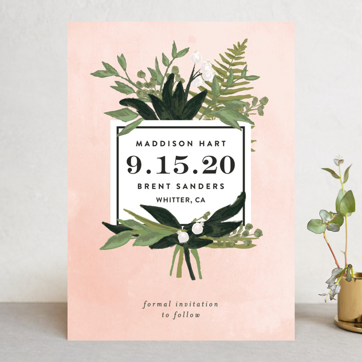 """""""Botanical Name Plate"""" - Save The Date Cards in Blush by Shiny Penny Studio."""