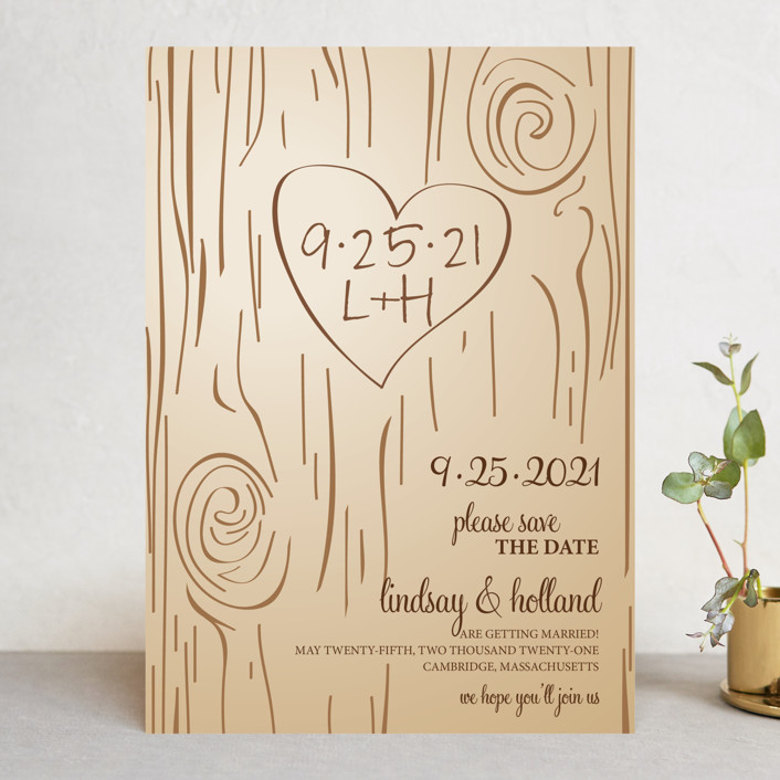 """Fall Carving"" - Rustic Save The Date Cards in Woodgrain by Amanda Joy."