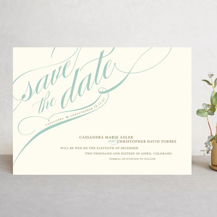 """Winter Flourish"" - Elegant, Formal Save The Date Cards in Robin'sEggBlue by annie clark."