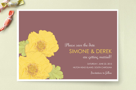 Yellow Peonies Save The Date Cards