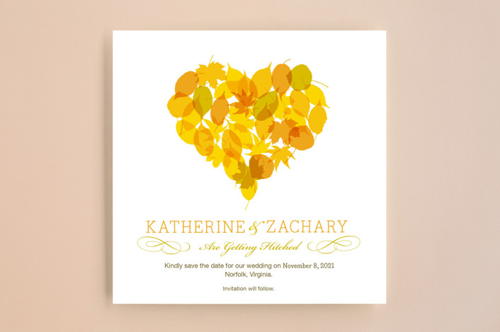 """Fall in Love"" - Rustic Save The Date Cards in Autumn Leaf by Le Petit Graphiste."