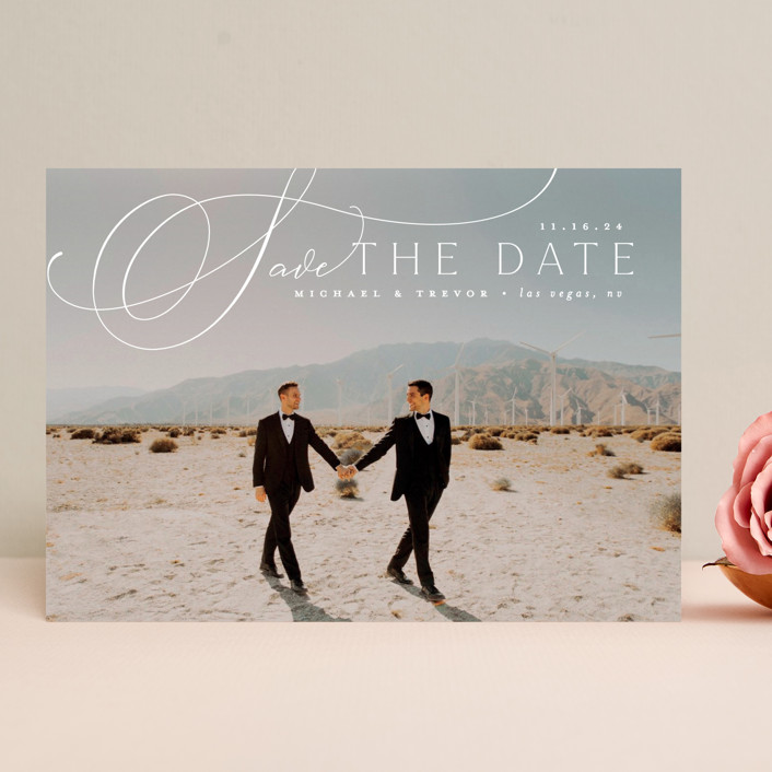 """""""Trailing"""" - Save The Date Cards in Diamond by Everett Paper Goods."""