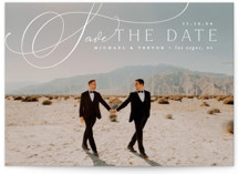 This is a white save the date by Everett Paper Goods called Trailing with standard printing on signature in standard.