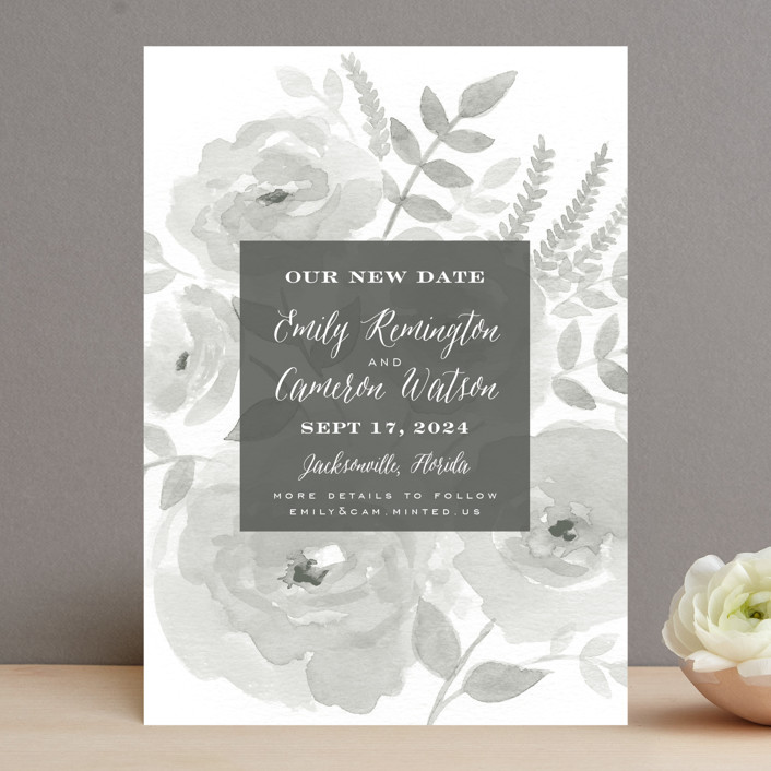 """Watercolor Floral"" - Save The Date Cards in Fog by Jill Means."