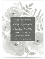 This is a grey save the date by Jill Means called Watercolor Floral with standard printing on signature in standard.