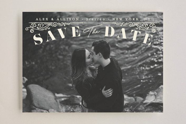 """""""Ornately"""" - Save The Date Cards in Cream by GeekInk Design."""