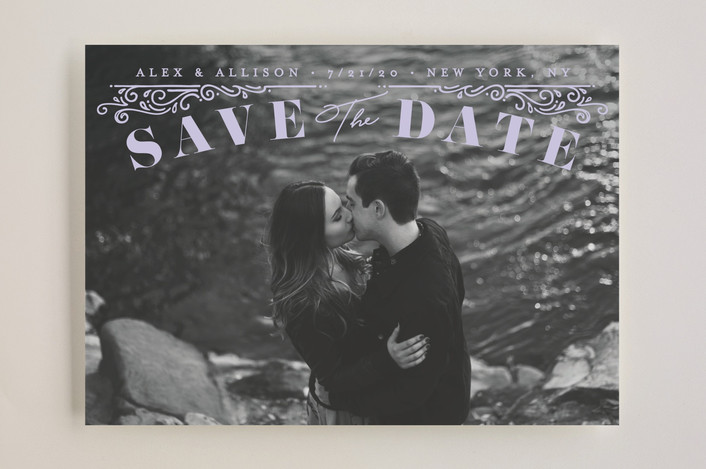 """Ornately"" - Save The Date Cards in Cream by GeekInk Design."
