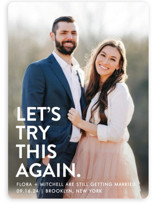 This is a white save the date by Ellis called Let's I Do This Photo with standard printing on smooth signature in standard.