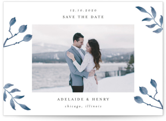 This is a landscape, portrait botanical, blue Save the Dates by Lehan Veenker called Serenity with Standard printing on Signature in Classic Flat Card format. This light and airy photo save the date features hand drawn watercolor botanicals.