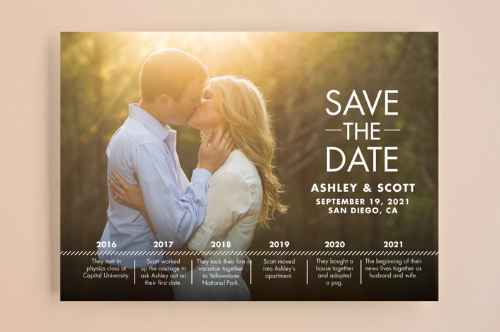 """Our Timeline"" - Modern Save The Date Cards in Wedding Dress by Andi Pahl."