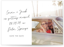 This is a black save the date by Sarah Curry called Palm Springs with standard printing on doublethick in standard.