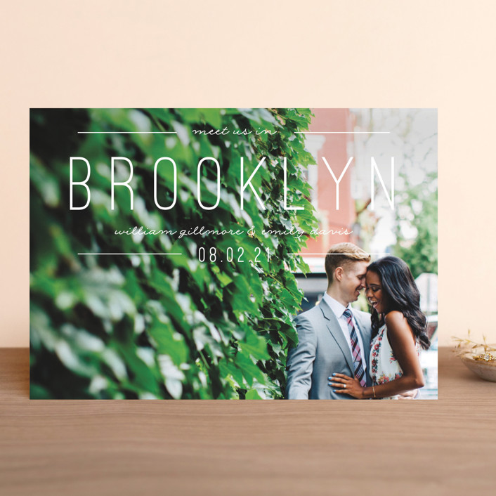 """""""Meet Us"""" - Save The Date Cards in Khaki by Pixel and Hank."""