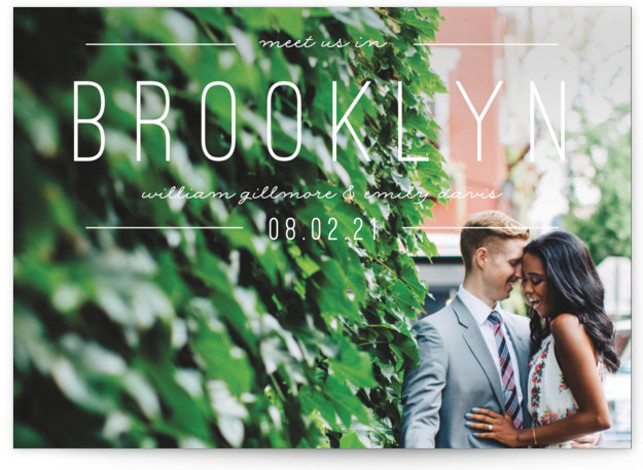 This is a landscape, portrait bold and typographic, white Save the Dates by Pixel and Hank called Meet Us with Standard printing on Signature in Classic Flat Card format. Simple type highlight your destination event.
