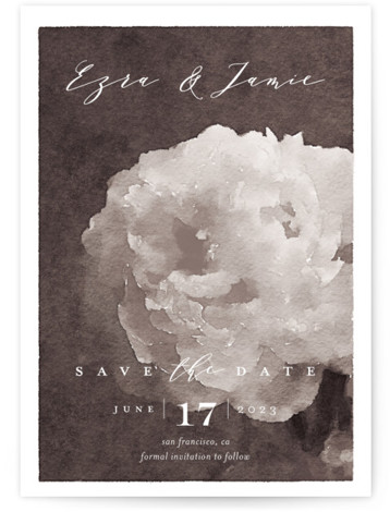 This is a portrait botanical, grey Save the Dates by Eric Clegg called Peony with Standard printing on Signature in Classic Flat Card format. This Save the Date card features an elegant watercolor floral background and a handwritten script.