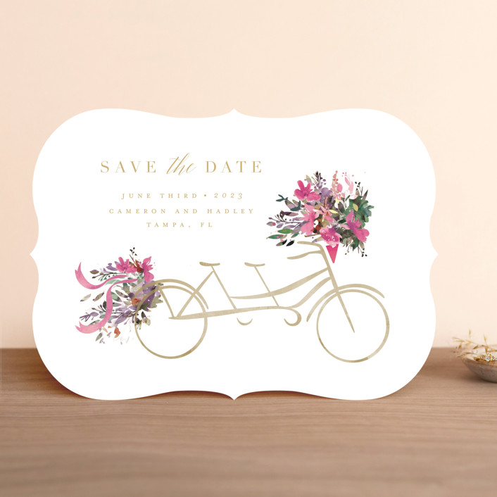 """Bicycle for Two"" - Save The Date Cards in Crimson by Lori Wemple."