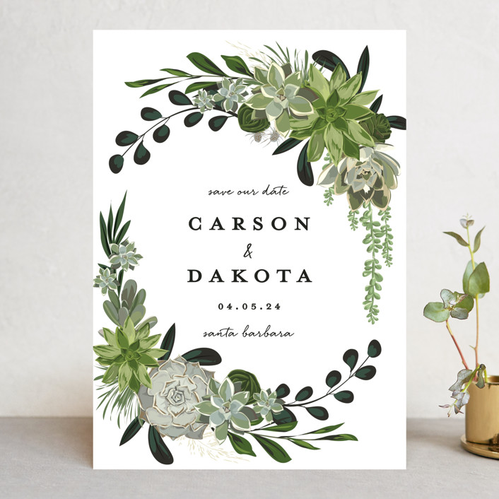 """""""Agave & Greens"""" - Save The Date Cards in Frosting by Susan Moyal."""