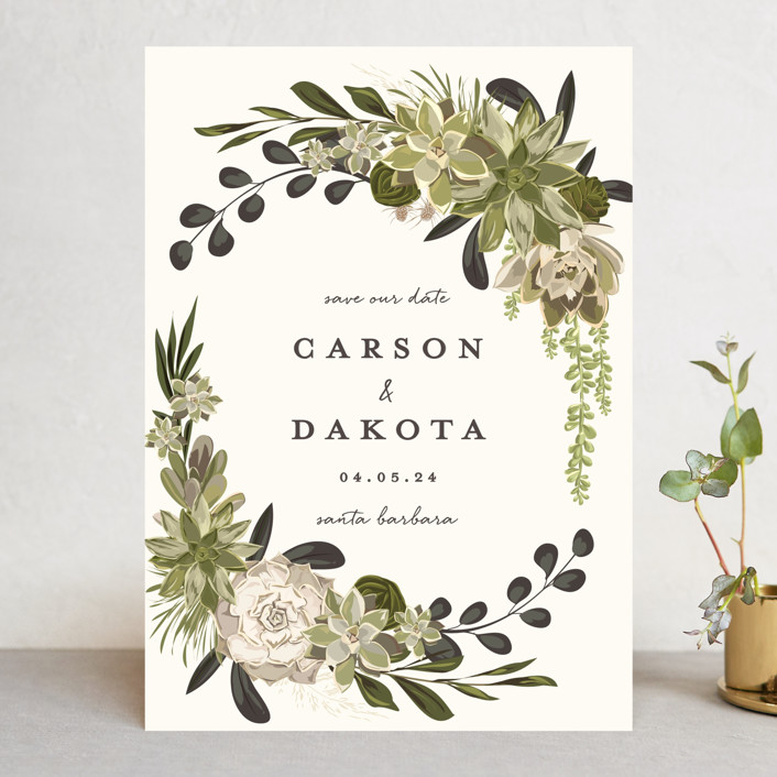"""""""Agave & Greens"""" - Save The Date Cards in Midnight by Susan Moyal."""