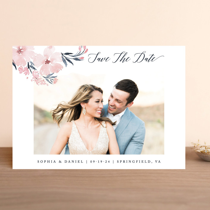 """""""beautifully painted"""" - Save The Date Cards in Blush by Qing Ji."""