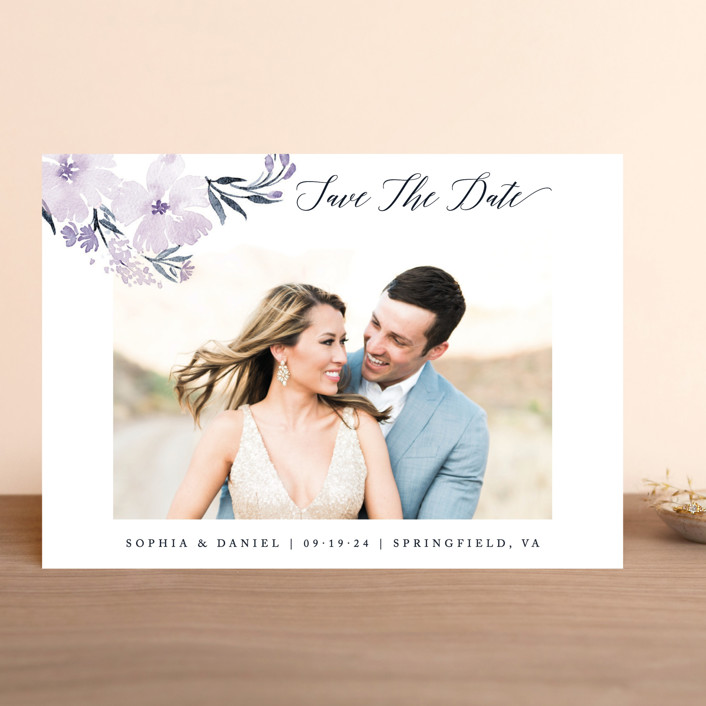 """beautifully painted"" - Save The Date Cards in Blush by Qing Ji."