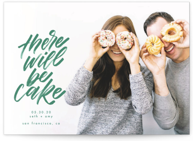 This is a landscape, portrait offbeat, green Save the Dates by Erin L. Wilson called There Will Be Cake with Standard printing on Signature in Classic Flat Card format. This design features a full bleed photo with bold, brushy, hand ...