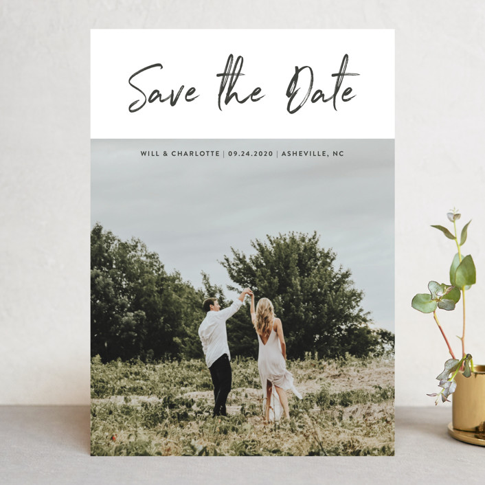 """Modern sentiment"" - Save The Date Cards in Mountain by Stacey Meacham."
