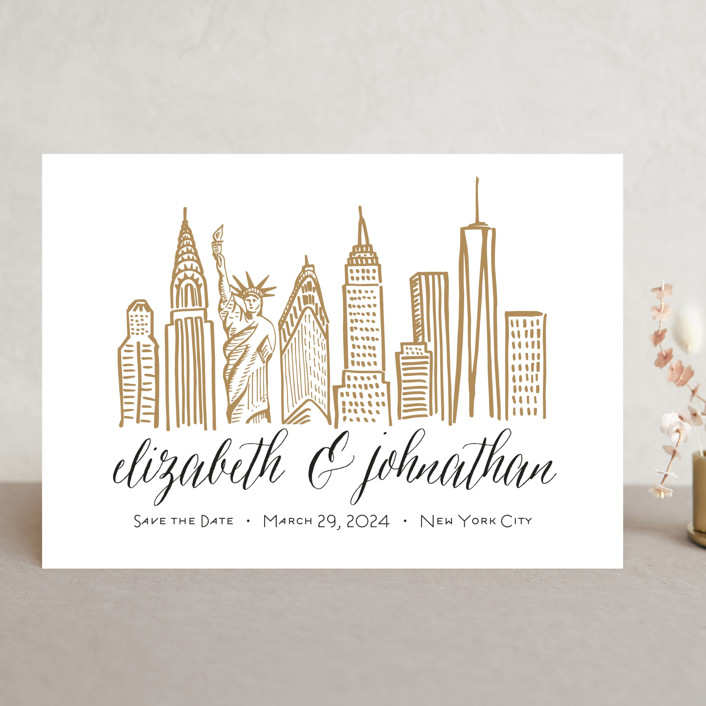 """Skyline - New York City"" - Save The Date Cards in Gold Coast by Abby Munn."