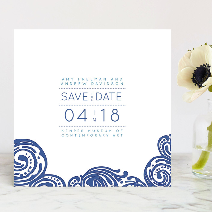 """Contemporary Chic"" - Destination, Modern Save The Date Cards in Indigo by Guess What Design Studio."
