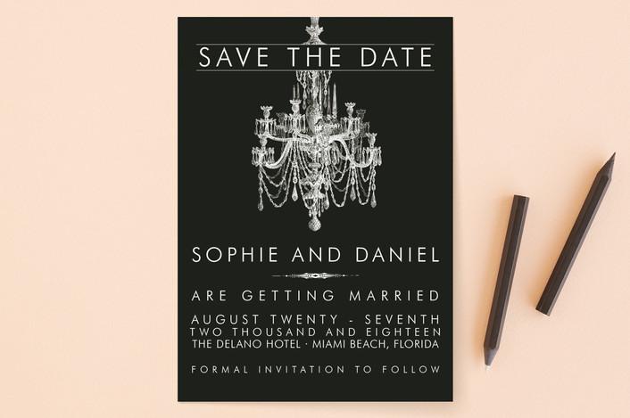 """Chandelier"" - Vintage, Formal Save The Date Cards in Obsidian by Splendid Press."