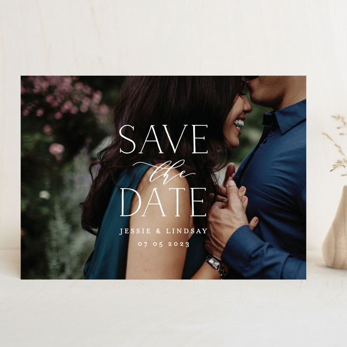 """covered"" - Save The Date Cards in White by Phrosne Ras."