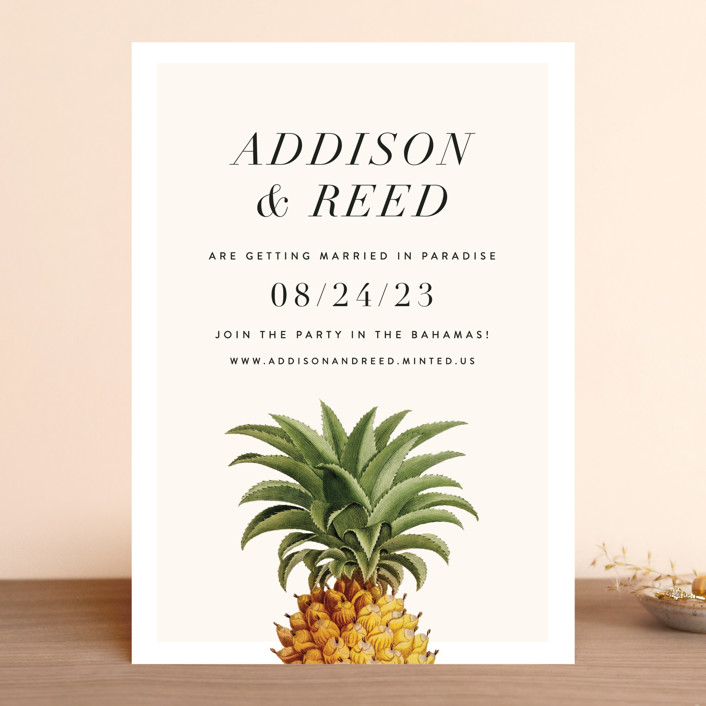 """""""Party in Paradise"""" - Preppy Save The Date Cards in Pineapple by Fig and Cotton."""