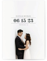 This is a grey save the date by Shirley Lin Schneider called Classic Date with standard printing on signature in standard.