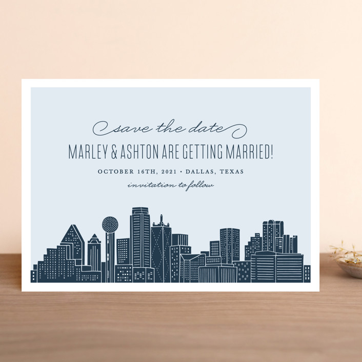 """""""Big City - Dallas"""" - Save The Date Cards in Pale Blue by Hooray Creative."""
