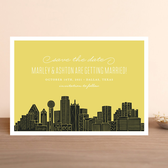 """Big City - Dallas"" - Save The Date Cards in Pale Blue by Hooray Creative."