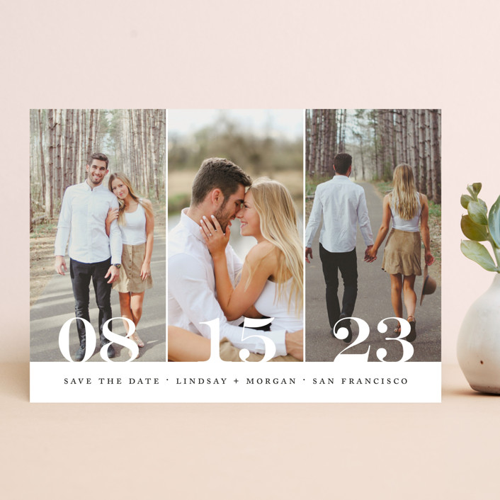 """""""Trio"""" - Save The Date Cards in Noir by Kimberly FitzSimons."""