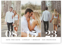 This is a black save the date by Kimberly FitzSimons called Trio with standard printing on smooth signature in standard.