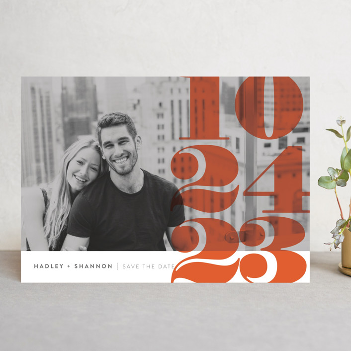 """Numerals"" - Save The Date Cards in Tomato by Up Up Creative."