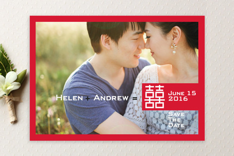 Double Happiness Save The Date Cards