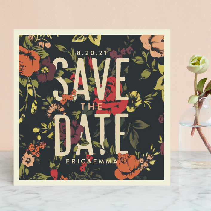 """Vintage Blooms"" - Save The Date Cards in Rose Red by Miranda Lyn."