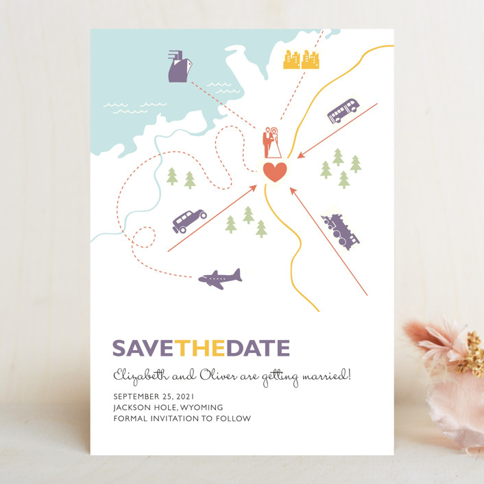 """Destination"" - Save The Date Cards in Lilac Haze by leslie hamer."