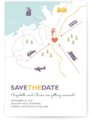 This is a portrait illustrative, blue Save the Dates by leslie hamer called Destination with Standard printing on Signature in Classic Flat Card format.